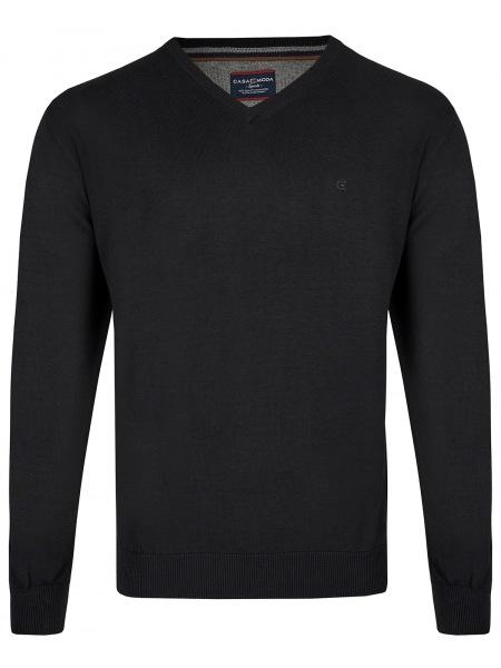 schwarzer CASAMODA Pullover aus Pima Baumwolle in schwarz mit Rundhals-Ausschnitt