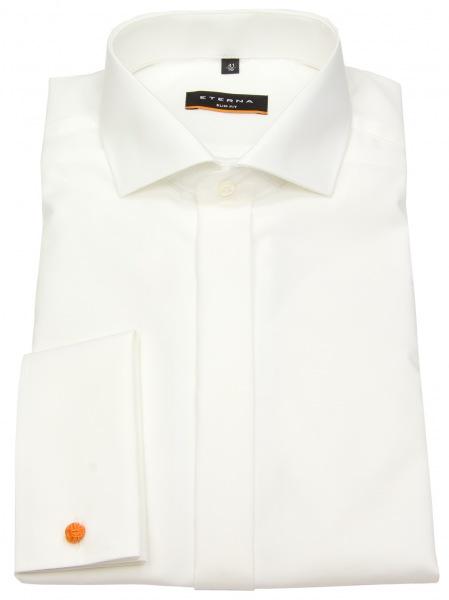 Elegantes Eterna Hemd mit Doppelmanschette in Ivory / Champagner / Creme - Passform Slim Fit