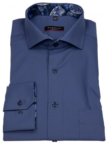 Eterna Hemd in Modern Fit mit extra langen Ärmeln von 68cm in dunkelblau