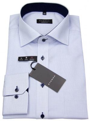 Eterna Hemd in blau / weiß fein kariert mit Kontrastknöpfen