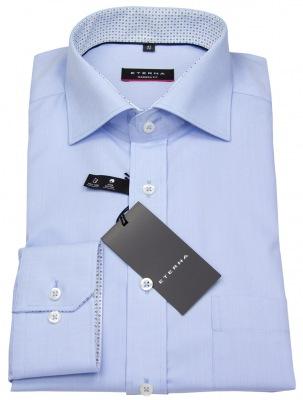 Eterna Modern Fit Hemd in hellblau mit Patch