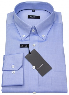 Blaues Hemd von Eterna in Comfort Fit mit Button-Down-Kragen