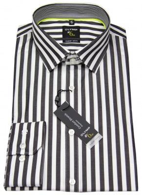 schwarzes Hemd OLYMP Level 5 mit Streifen