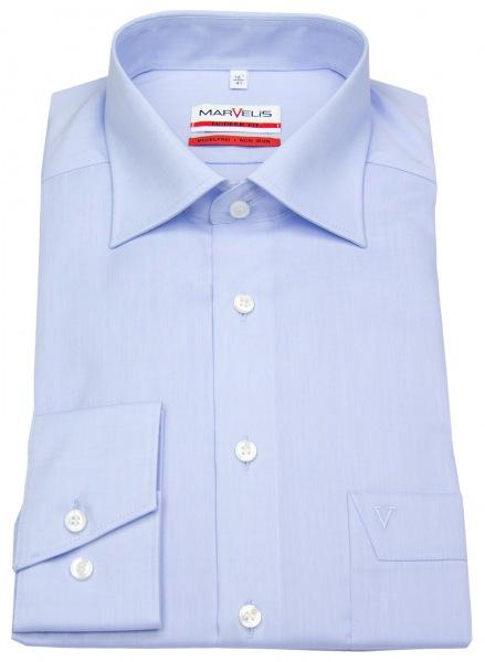 leicht tailliertes Marvelis Herrenhemd in hellblau mit extra langen Ärmeln von 68cm - Passform Modernfit