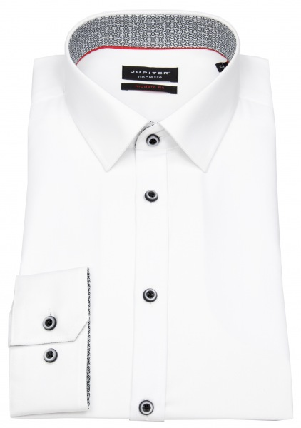 leicht tailliertes Jupiter Herrenhemd mit Kontrastknöpfen - Passform Modernfit