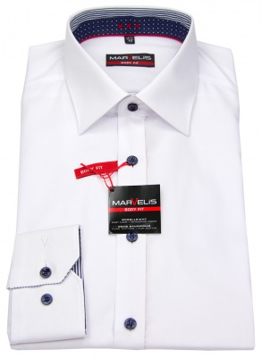 Marvelis Body Fit Hemd weiß mit blauen Kontrastknöpfen