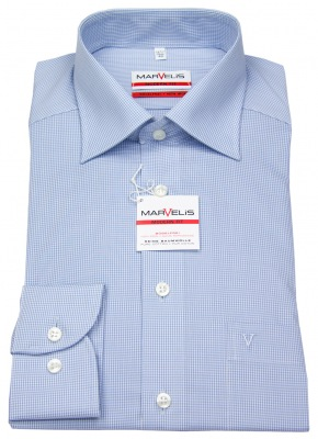 Marvelis Hemd Modern Fit / Slim Fit in blau weiß