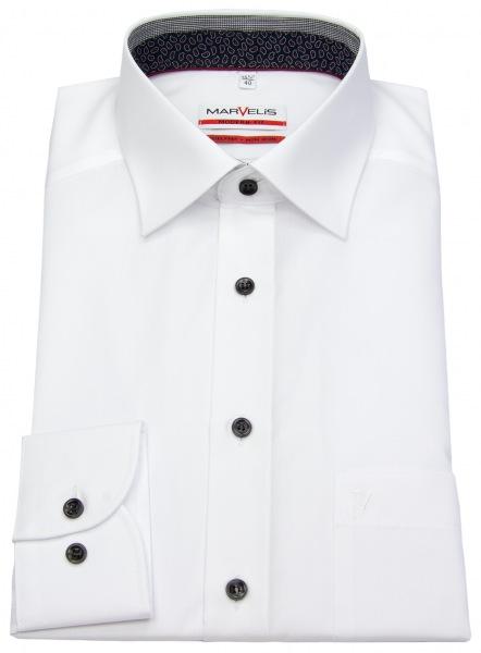 Modern Fit Hemd von Marvelis in weiß mit dunkelblauen Kontrastknöpfen - leicht tailliert