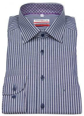 günstiges Marvelis Modern Fit Hemd blau mit Streifen im Sale