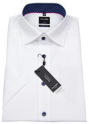 OLYMP Kurzarm Hemd Luxor Modern Fit weiß mit Kontrastknöpfen