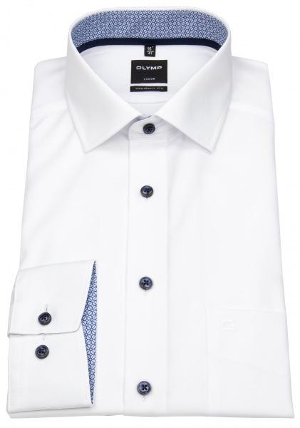 OLYMP Luxor Modern Fit Hemd in weiß mit blauen Kontrastknöpfen