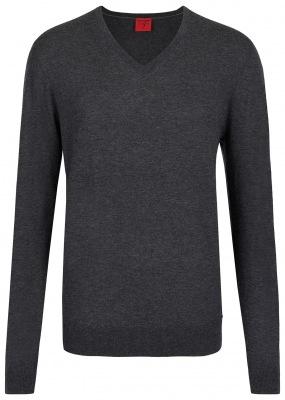 grauer Pullover von OLYMP Level 5 mit V-Ausschnitt