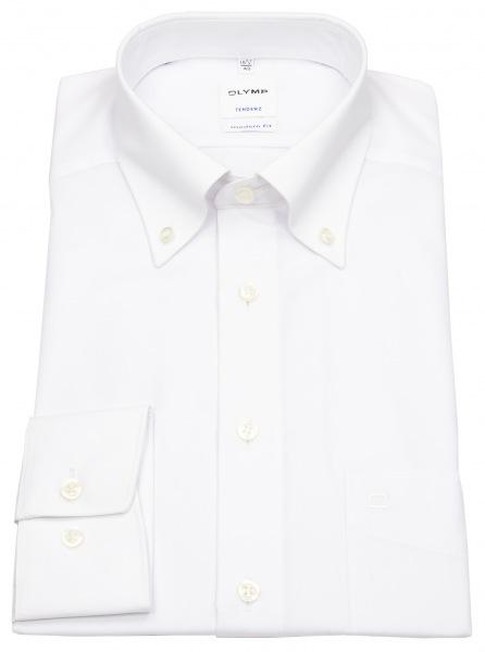 OLYMP Tendenz Herren-Hemd weiss mit Button Down Kragen