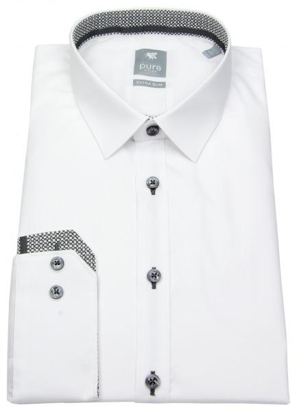 Pure Extra Slimfit Hemd mit Kontrastknöpfen - Farbe: weiß