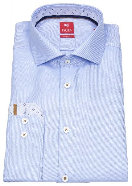 Pure Slim Fit Hemd mit Haifischkragen in hellblau