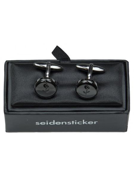 Seidensticker Manschettenknöpfe mit schwarze Rose Logo in einer Geschenk-Box