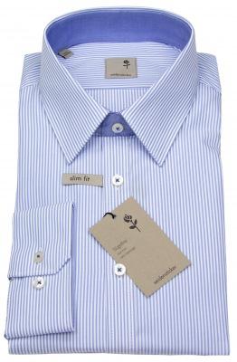 Seidensticker Schwarze Rose Hemd hellblau / weiß gestreift