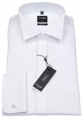 OLYMP Smokinghemd Soirée Modern Fit weiß mit Kläppchenkragen und verdeckter Knopfleiste