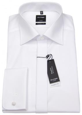 Smokinghemd von Olymp mit verdeckter Knopfleiste in weiß