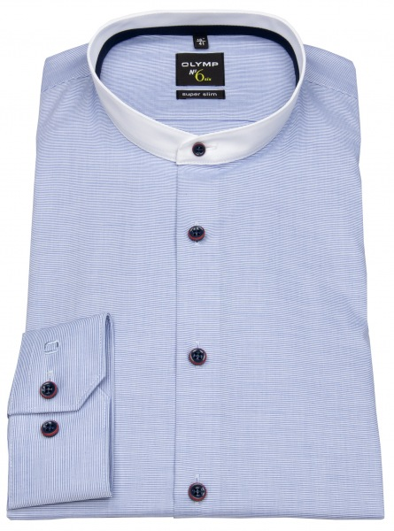 Stehkragen Hemd von OLYMP No 6 Six Super Slim in hellblau