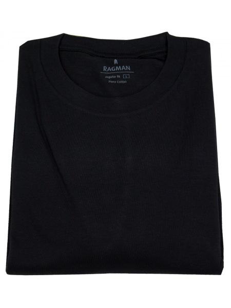 Ragman T-Shirt Doppelpack aus 100% Baumwolle mit Rundhals-Ausschnitt - Farbe: schwarz