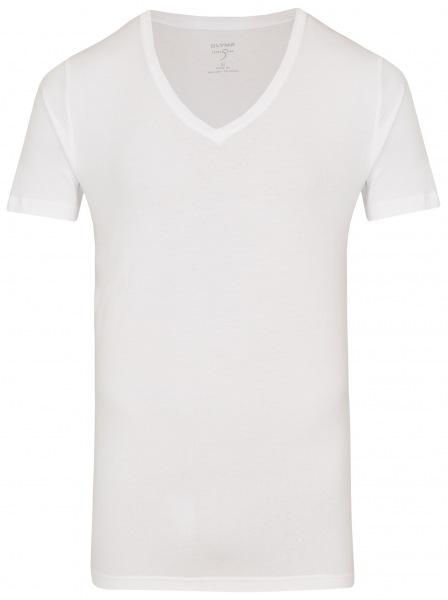 Herren T-Shirt von OLYMP Level 5 - tailliert, mit V-Ausschnitt in weiß