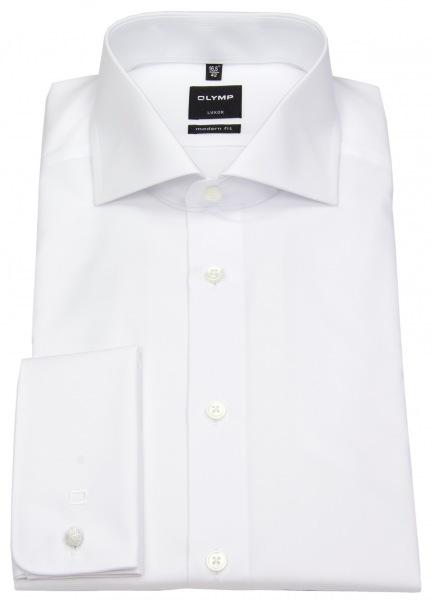 OLYMP Modern Fit Hemd mit Umschlagmanschette und Haifischkragen in weiß